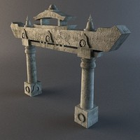 old japanese stone arch 3d x