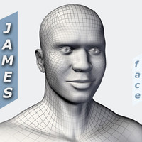 c4d african male head