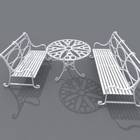 3d model set wrought iron