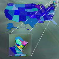 usa maine counties 3d model