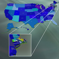 usa massachusetts counties 3d max