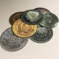 7 rez coins 3d model
