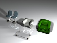 3ds set sofa chair