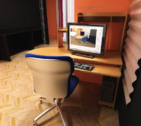 computer desk office chair 3d max