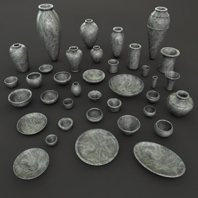 Ancient Egypt Stone Pottery tableware 37 Pcs & Searched 3d models for ancient-egypt---modular-low-poly-architecture ...