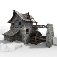 3d watermill cartoon style model