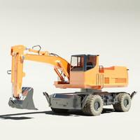 wheeled digger 3d max