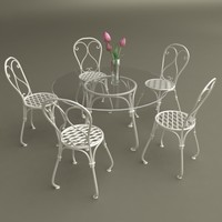 table chairs vase tulips 3d model