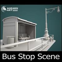 3d bus stop scene model