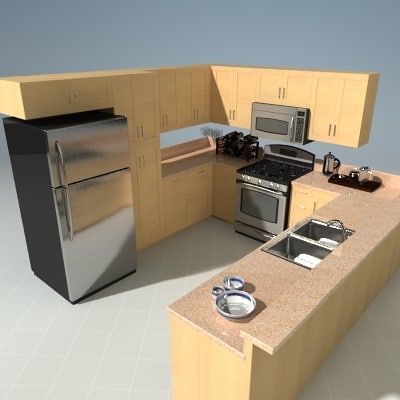 3d kitchen set model for Model model kitchen set