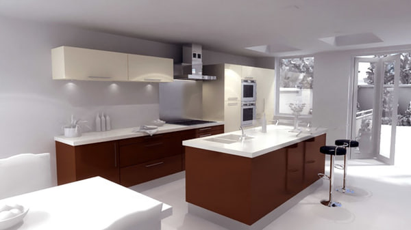 kitchen - 3ds - Modern Kitchen - with island... by D1 Digital