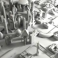 futuristic cityscape 3d 3ds