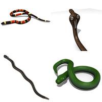 3d model snakes cobra python rattlesnake