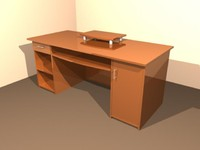 3d model desk wood furnish