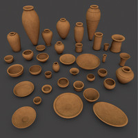 Ancient Egypt Clay Pottery 37 Pcs Uv Mapped