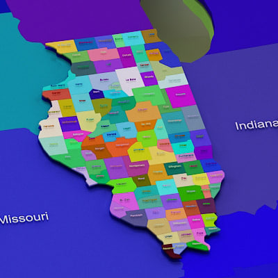 3d usa illinois counties - Illinois counties... by Photoncatcher