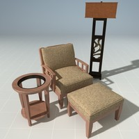lounge chair ottoman 3d model