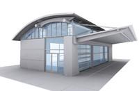 3d model rest stop building