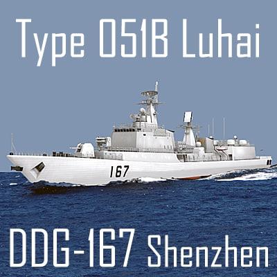 Chinese Navy Type 051B Luhai Class DDG-167 Shenzhen (low polygon)