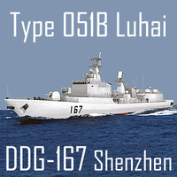 Chinese Navy Type 051B Luhai Class DDG-167 Shenzhen (low polygon)