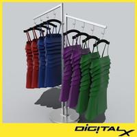 3d model rack dresses