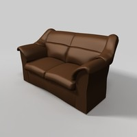 unique leather sofa brown 3ds