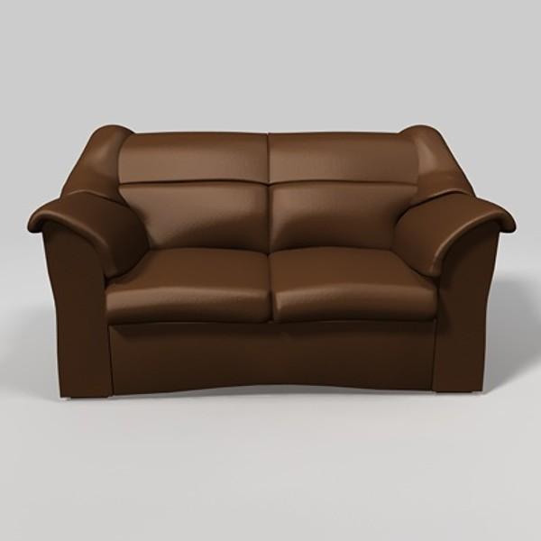 Unique Leather Sofa Brown 3ds