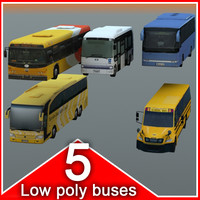 5 Busses (lowpoly)