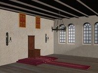 3d model medieval throne hall
