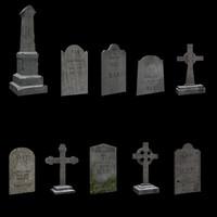 3d tombstones model