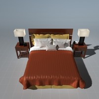 3ds max bed night stand alarm clock