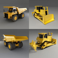 Bulldozer and Mining Truck