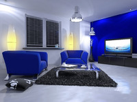 Blue Living Room Interior