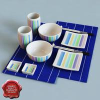 japanese dinner set 3d model