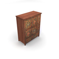 Mid Size Tibetan Painted Cabinet