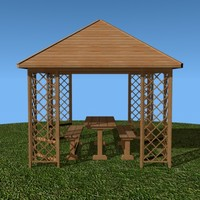 3d model gazebo table benches