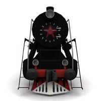 3d low-poly steam locomotive l model