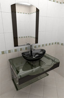 3d max glass wash-basin