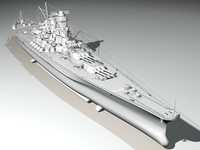 japanese battleship yamato navy ship 3d model