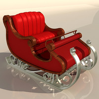 3d sleigh santa claus model