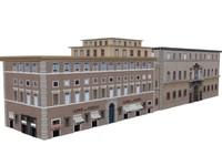 3d buildings cafe housing european