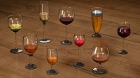 Crystal Glasses and Alcoholic Drinks Collection