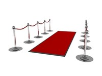3d red carpet velvet rope model