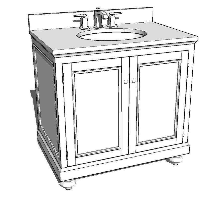 3d model bathroom faucet for Sketchup bathroom sink