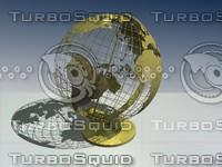 3d globe bronze model