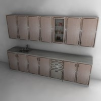 kitchen cupboards 3d obj