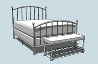 open rail bed bench 3d 3ds
