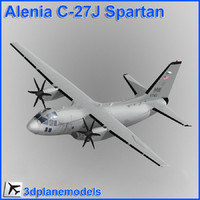 alenia c-27j spartan military transport 3d model
