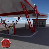 gas station v12 3d max