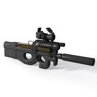 3d fn p90 tr submachine gun